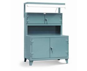 Beau Cabinet Workstation With Fluorescent Light Fixture