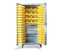 Stainless Steel 4-Drawer Bin Storage Cabinet