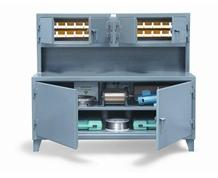 Cabinet Workstation with Upper Bins Compartment