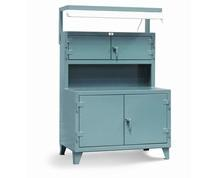 Cabinet Workstation with Fluorescent Light Fixture
