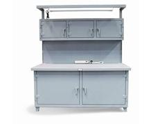Cabinet Workstation with Light Fixture, Outlets and Pegboard