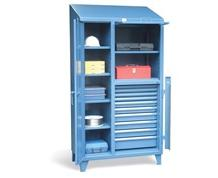 Cabinet with Lift-Up Lid and 10 Drawers with Lockbar