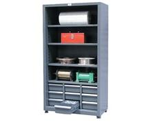 Combination Open Shelving with Drawers
