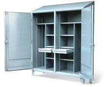 Double Shift Cabinet with Hooks and Pegboard Doors