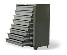 Eight-Drawer Shelving Unit With Lock Bar