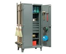 Inside-Outside Tool/Janitorial Supply Storage Cabinet