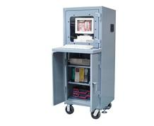 Mobile Computer Cabinet with Weld Shelf